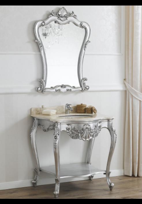 Consolle da bagno in foglia argento con lavabo e marmo crema