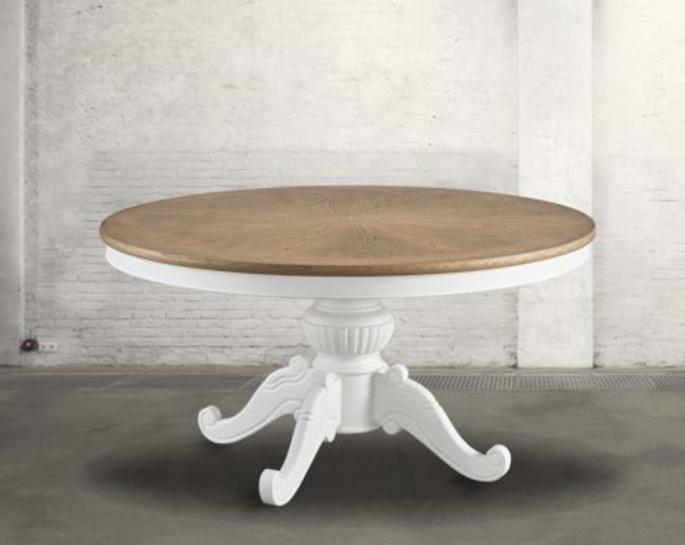 Tavolo rotondo provenzale in legno con gamba lavorata - Tavolo rotondo vintage ...