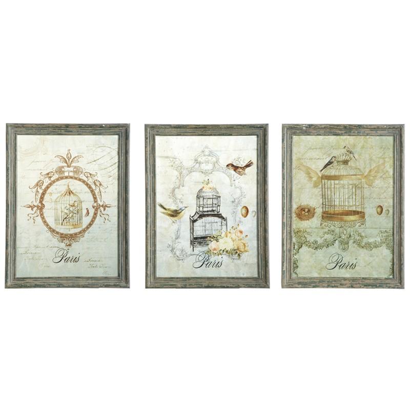 Quadri set due pezzi con gabbietta uccelli e cornice in legno - Quadri per il bagno ...