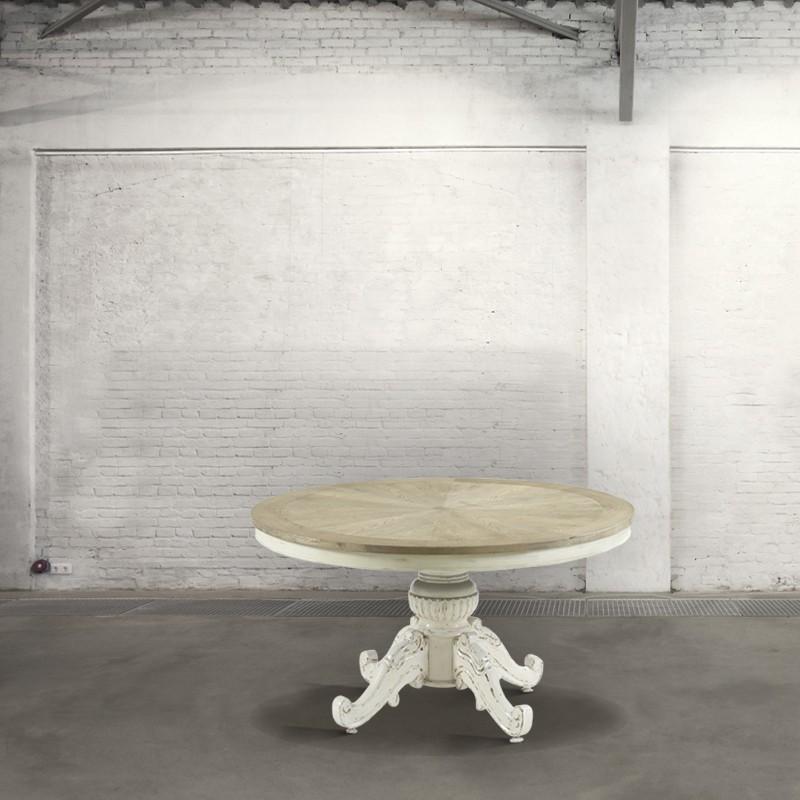 Tavolo rotondo provenzale in legno con gamba lavorata for Tavolo rotondo barocco