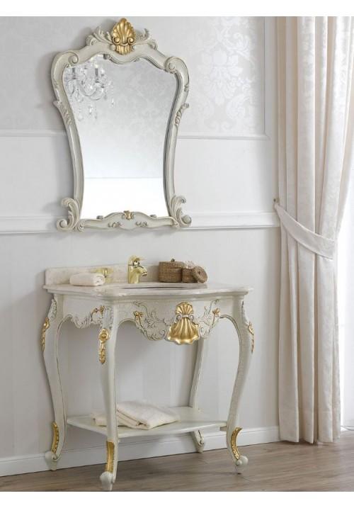 Consolle con lavabo Polette bianca con foglia oro