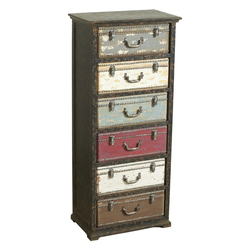 Cassettiera voyage in legno e metallo con cassetti a forma for Cassettiera legno
