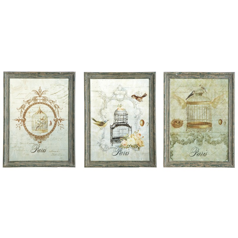 Quadri set due pezzi con gabbietta uccelli e cornice in legno - Quadri per bagno ...