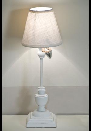 Lampada da tavolo Marie in legno e tessuto