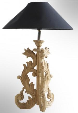 Lampada da tavolo Wea in legno oak e tessuto
