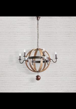 Lampadario sferico Slime diametro 89 in legno e metallo