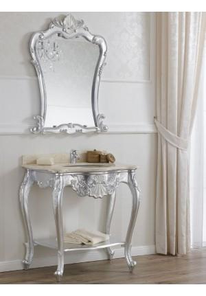 Consolle con lavabo Polette argento e bianca