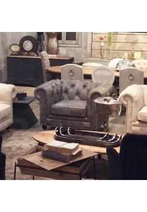Poltrona chesterfield in pelle grigio vintage