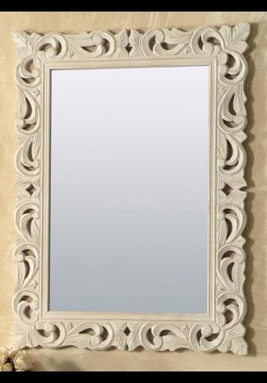 Specchiera di legno intarsiato rettangolare