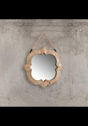 Specchiera con cornice in legno e supporto in corda