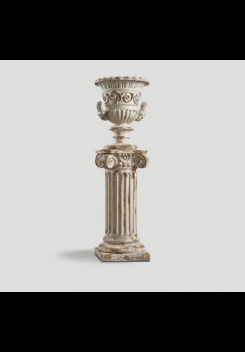 Capitello con vaso in resina naturale anticato