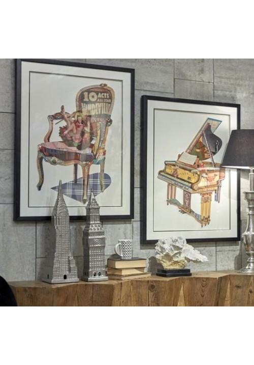 Grande decorazione da parete in rilievo pianoforte