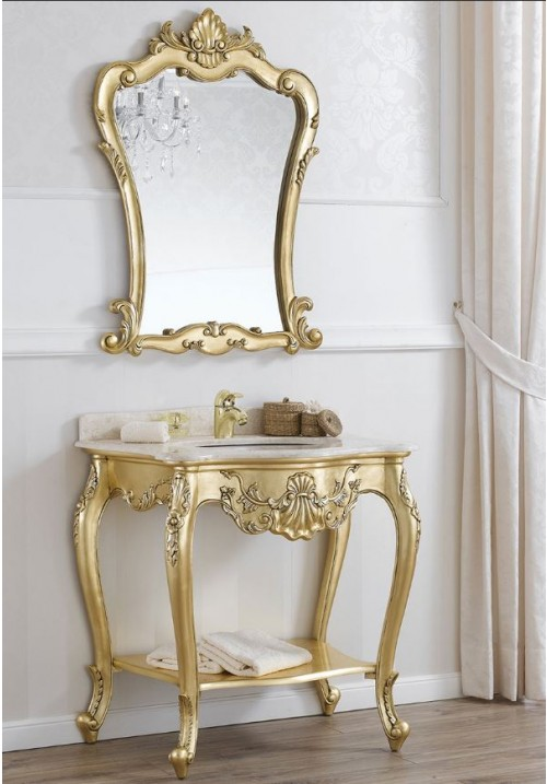 Consolle con lavabo Polette con foglia oro