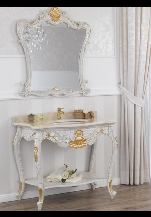 Consolle e specchio Polette avorio cracquelé con foglia oro 105 cm
