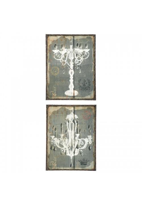 Set due decorazioni con candelabro e lampadario