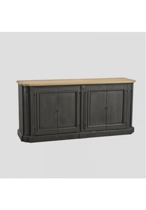 Credenza Lorraine color lavagna e top in rovere vintage