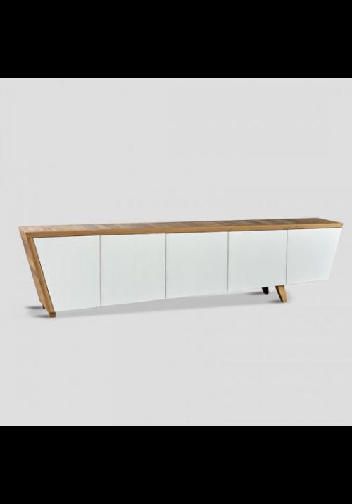 Credenza Reine 280 cm bianca cinque porte con top a contrasto