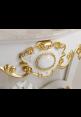 Consolle lavabo Georgette 130 cm bianca con foglia oro