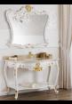 Consolle Polette 130 cm bianca con foglia oro e specchio